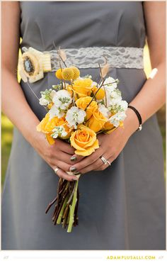 Bridesmaid Bouquet. Bright Yellow. Gray Dress.