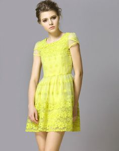Yellow Short Sleeve Embroidery Blouse