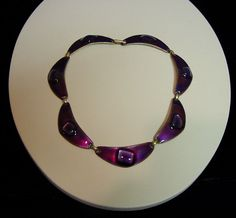 Mid Century MODERNIST Kay Denning Signed Glass Copper ENAMEL NECKLACE CHOKER  #KayDenning #Abstract