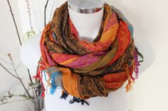 Color Men scarves Ethnic fabric scarves Striped by Nazcolleccolors