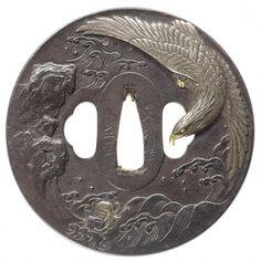 A large iron tsuba By Iwama Masayoshi and Bushu Masatsune, century Samurai Weapons, Katana Swords, Samurai Warrior, Japanese Blades, Japanese Sword, Samurai Artwork, Art Japonais, Objet D'art, Japan Art