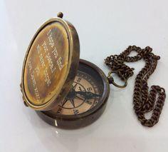 Personnalisé à la main Antique Brass travaillant boussole avec écriture personnalisée