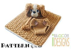 Ravelry: Copper the Baby Spaniel Hat, Diaper Cover and Blanket Set, Crochet Pattern in PDF pattern by Ira Rott.