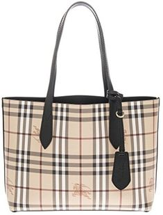 1ecc5fddc290 Burberry Women s Small Reversible Handbag in Haymarket Check and Leather  Black