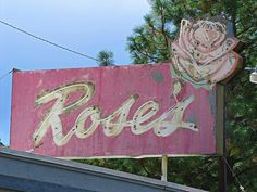 Vintage Rose's Diner neon sign in Naches, Washinton.