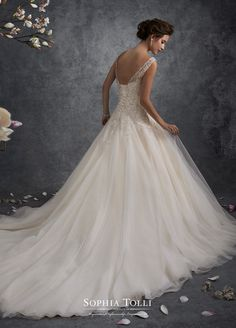 Y21748 Ursa - Misty tulle ball gown with hand-beaded illusion slight cap sleeves and Sabrina neckline, beaded and embroidered plunging sweetheart bodice with dropped waist, back corset, gathered tulle skirt with chapel length train.