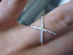 14K Gold Diamond Criss Cross, X, Orbit Fashion Ring, Crossing Loop Ring, Dainty Ring, Cross Over Ring 6J7800
