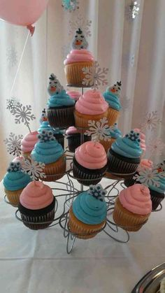 "Olaf cupcakes at a ""Winter Onederland"" birthday party! See more party planning ideas at CatchMyParty.com!"