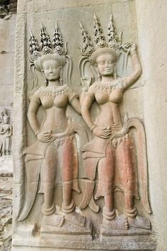 Angkor Wat, Temples, Dancers, Civilization, Carving, Statue, Google, Flowers, Collection