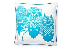Three Owls on a Tree Pillow