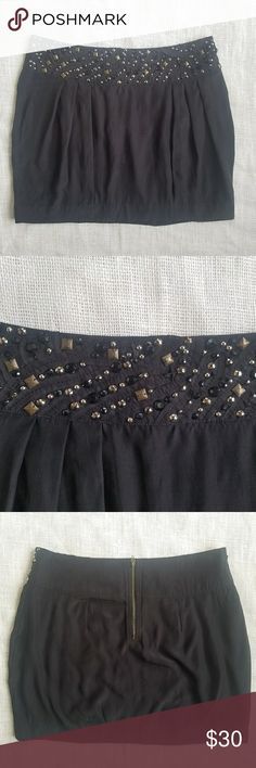 Silence and Noise Silk Embellished Black Skirt 12 100% silk, black, embellished waistband skirt from Silence and Noise. Size 12. Zips up the back. Only flaw seen is there are two beads missing from the waist (seen in photo). silence + noise Skirts Mini