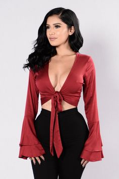 - Available in Burgundy - Satin Crop Top - Bell Sleeves - Tie Front - V Neckline - Made in USA - 97% Rayon 3% Spandex