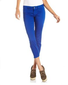 Skinny Cropped Twill Pants, Blue by FADE TO BLUE