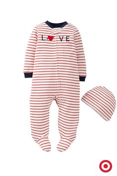 Valentine's Day is almost here. But hey, every day is a love fest for your sweetie. Dress your baby in this comfy sleep 'n play and hat set from Just One You made by Carter's, and your little one will be more huggable than ever.