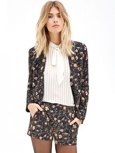 Forever21 Floral and Bird Print Blazer