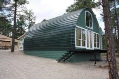architecture house design, quonset hut homes Cheap Tiny House, Quonset Hut Homes, Arched Cabin, Building A Cabin, Metal Building Homes Cost, Building Ideas, Diy Cabin, Cabin Kits, Structure Metal