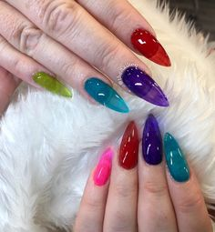 "Yasmin Farhani on Instagram: ""Jelly nail goals 😍 if you can't pick a colour why not have them all 🤷🏽‍♀️ . . . . . #acrylicnails #acrylics #coffinnails #stilettonails…"""
