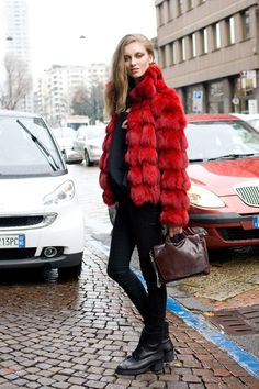 """Iris Van Berne, model    """"I'm wearing a vintage coat with a No.21 top, All Saints jeans, COS shoes and a Theory"""