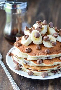 Banana Chocolate Chip Pancakes: These are my families favorite pancakes! They are ready in 20 minutes and are the perfect Sunday morning breakfast. Bonus - this is another great recipe to use up any o (Morning Breakfast) Breakfast Desayunos, Breakfast Recipes, Dessert Recipes, Pancake Recipes, Breakfast Ideas, Crepe Recipes, Breakfast Sandwiches, Baking Desserts, Waffle Recipes