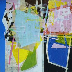"""Composition #299 - Ian MacLeod :: 48""""x48"""" - Acrylic, latex, paper, tape, glue, raw canvas and varathane on canvas"""