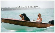 In a perfect world, I'd be boating in my Rag & Bone Georgie Perforated Leather Off-White Espadrilles from Neiman Marcus... with our dogs, teens, & husband too! India Hicks & her Potcakes pictured.  #NMshoelove www.neimanmarcus.com