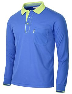 1d4804f2 BCPOLO Men's Polo Shirt long Sleeve Dri Fit Golf, Athletic, stitch,Casual  Coolmax