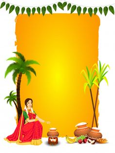 Beautiful Woman Stirring Rice In Mud Pot With Fruit, Indian Sweet (laddu), Sugarcane And Coconut Tree On Yellow And White For Happy Pongal. Banner Background Hd, Iphone Background Images, Festival Background, Best Background Images, Pattern Background, Pongal Wishes In Tamil, Happy Pongal Wishes, Diwali Wishes, Pongal Photos