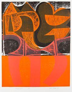 'Orange Night' by artist & printmaker Peter Green Woodcut & stencil print, 670 x 545 mm. via St Jude's Prints Stencil Printing, Screen Printing, Wood Engraving, Print Artist, Art Sketchbook, Abstract Print, Letterpress, Painting & Drawing, Graphic Art