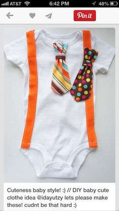 Cute baby onesies with ties for boys