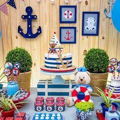 ideas for baby shower boy nautical fun Sailor Birthday, Sailor Party, Baby Boy 1st Birthday, First Birthday Parties, Nautical Birthday Cakes, Nautical Party, Baby Shower Themes, Baby Boy Shower, Party Decoration