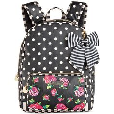 Betsey Johnson Large Backpack ($98) ❤ liked on Polyvore featuring bags, backpacks, floral dot, day pack backpack, floral print backpack, floral backpack, dot backpack and floral rucksack