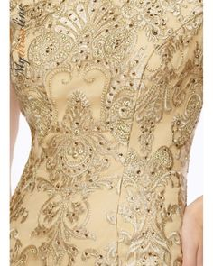 $518.00 Gold (sewen lace) Mon Cheri Montage 116948 tip-of-the-shoulder metallic lace and tulle fit and flare gown with slight cap sleeves, bateau neckline, scalloped hem, sweep train. - Mother of the Bride Dresses - Mon Cheri Montage 116948 tip-of-the-shoulder metallic lace and tu