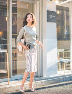 office style, striped skirt, minimal chic