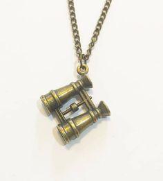 Antique Bronze Binoculars Charm Necklace Chain Necklace Pendant Necklace Charm Necklace Simple Hobo Bohemian Necklace