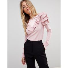 Ted Baker Hellgar Ruffle Sweater (£120) ❤ liked on Polyvore featuring tops, sweaters, pink, crew neck top, ted baker sweater, pink satin top, frilled top and flounce tops