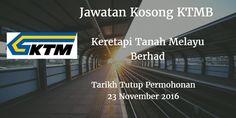Keretapi Tanah Melayu Berhad Jawatan Kosong KTMB 23 November 2016  Keretapi Tanah Melayu Berhad (KTMB) mencari calon-calon yang sesuai untuk mengisi kekosongan jawatan KTMB terkini 2016.  Jawatan Kosong KTMB 23 November 2016  Warganegara Malaysia yang berminat bekerja di Keretapi Tanah Melayu Berhad (KTMB) dan berkelayakan dipelawa untuk memohon sekarang juga. Jawatan Kosong KTMB Terkini November 2016 1. SALES MANAGER Tarikh Tutup Permohonan : 23 November 2016 Sektor : Swasta Lokasi : Kuala…