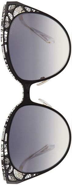 Rosamaria G Frangini | Fashion Accessories Glasses | Jimmy Choo Estelle Lace-Pattern Cat-Eye Sunglasses, Black