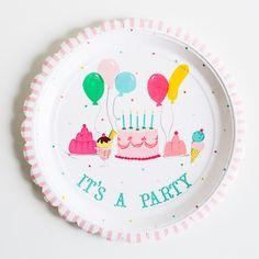 'It's a Party' Large Vintage Plate
