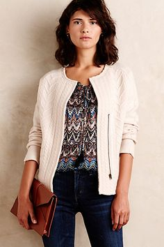 Dear Stitch Fix Stylist: I have this sweater blazer and need a top or two to wear with it.
