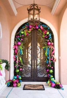 Christmas Door Decorations- Love the colors! Easy To Make Christmas Ornaments, Colorful Christmas Decorations, Noel Christmas, Pink Christmas, Outdoor Christmas, Winter Christmas, Christmas Wreaths, Holiday Decor, Christmas Porch