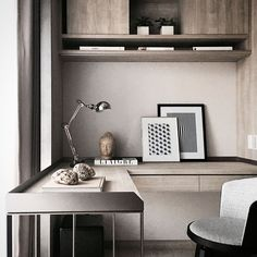 Ideas for home office in bedrooms are not difficult to come by. The primary focus of a home office in the bedroom is likely to be the privacy that is needed to complete the design. Home Office Design, Home Office Decor, House Design, Office Desk, Office Decorations, Office Designs, Study Office, Small Office, Office Style
