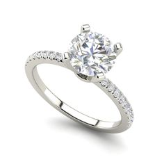 3 Ct SI1/D Round Cut Diamond Engagement Ring 14k White Gold 271346