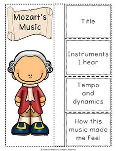 MOZART Foldables. Add these gorgeous composer foldables to your listening listening lessons.  ♫ CLICK through to preview or save for later!  ♫