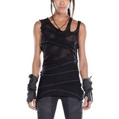 Asymmetric Fit Net Tank Top