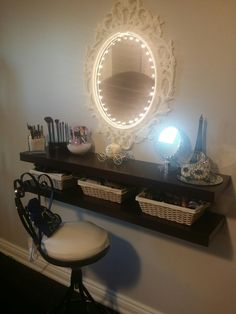 Even when you are limited in space, floating shelves, some lights and a bit of glitter makes the best beauty set up. :)