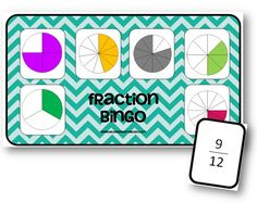 Fraction Bingo - jeu sur les fractions Plus Math 5, Fun Math, Math Activities, Fractions Decimals And Percentages, Math Fractions, 2nd Grade Math, Sixth Grade, Fraction Bingo, Apple School