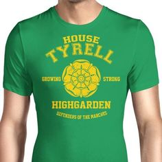 Support house Tyrell from Game of Thrones with their flower and house words on a men's T-Shirt. $21.99