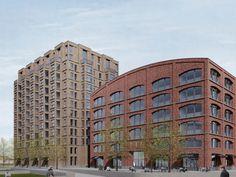 Voor het woongebouw (links) en het  werkgebouw(rechts) diende de voormalige Werkplaats van de NS als inspiratie..