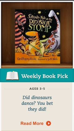 """Saturday Night at the Dinosaur Stomp,"" by Carol Diggory Shields, will make your child giggle and groove. Click for details. #kidsbooks"