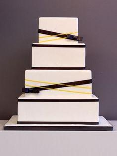 Black, white, and yellow #wedding #cake by I Do! Wedding Cakes